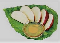 Honey Dish Set, Leaf With Apple