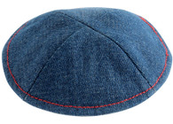 Kipa | Denim with Pin Spot Blue with red stitching | 15Cm