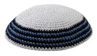 Kipa | Knitted Kippah | White With Blue Around | 18cm
