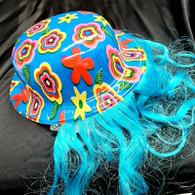 Purim: Plastic Hat W Long Curly Hair