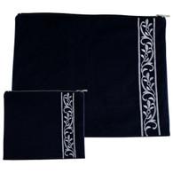Talis Bag | Velvet Talit-Tefilin Set 36*29, Dark Blue With Corn