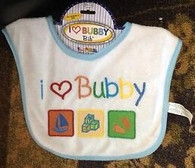 "Terry Bib, ""I Love Bubby"", Blue, 9"", Header"