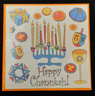 Chanukah Greeting card, Glitter