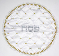 Matzah Cover | Round Gold/Silver Diamonds, Embroidered
