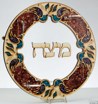 Laser Cut Matzah Tray With Decorative Stone Chips
