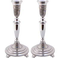"Candlesticks | Nickel ""Diamonds"" With Filigree 
