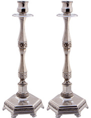 Candlesticks | Silver Ornate Design | 35cm