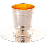 Kiddush Cup | Metal with Saucer, Stemless | 7cm