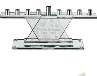 Menorah | Glass For Candles With Silver Branches | 11.5 x 26 Cm