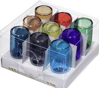 Glass Oil Cups | Assorted Colors (9) | Med. 4.7 x 2.5 Cm
