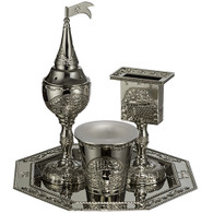 Havdalah Set | Elegant Nickel Jerusalem Theme | 4 Pcs.