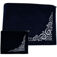 Tali/Tefillin Set | Velvet Dark Blue, with Ornate Trim | 36x29cm