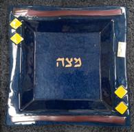 Matza Plate | Glass, Ex large, stunning blue