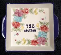 Matza Plate | Ceramic, floral painted