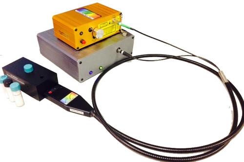 Raman Spectrometer System with Ramulaser™ Raman laser, Raman-HR-TEC high sensitivity spectrometer, & Raman probe & holder.
