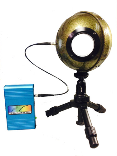 """LED Measurement System consists of a BLUE-Wave spectrometer, 6"""" integrating sphere, and an optical fiber."""