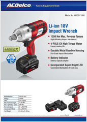 "Acdelco Li-ion 18V 3/4"" 1200 Nm Commercial Impact Wrench"