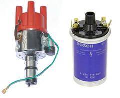 VW Beetle Camper Porsche chrome points Distributor 009 Non Vac + Bosch Coil