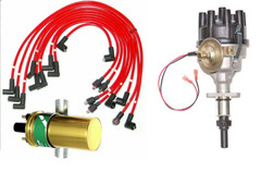 New Triumph Stag Distributor with electronic ignition coil & red ignition leads