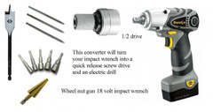 "Drive converter 3/8"" to drill or Screw driver quick release bits"