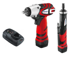 "AcDelco ARI1268-3EU Li-ion 10.8V 3/8"" Impact Wrench Kit and ARG1213H 10.8V Strai"