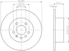 Brake Disc MINTEX MDC1045 PAIR OF REAR BRAKE DISCS