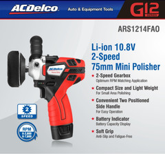ACDELCO ARS1214FAO Li-ion 10.8V 2-Speed 75mm Mini Polisher / Sander Uk Stock