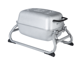The Original PKGO Tailgate Grill and Smoker in Classic Silver.