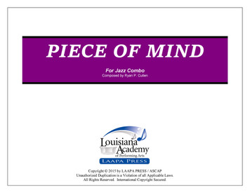 Piece of Mind - for Jazz Combo (Score/Parts - PDF)