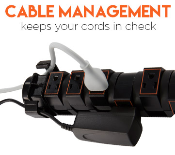 Cable managment helps keep your cords in check while providing a great surge protection rating
