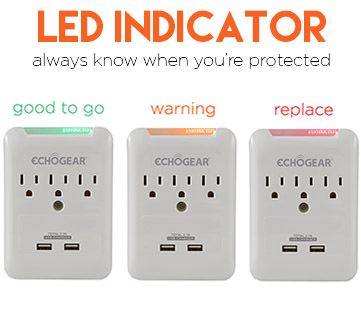 An LED indicator let's you know if your electronics are protected from surges