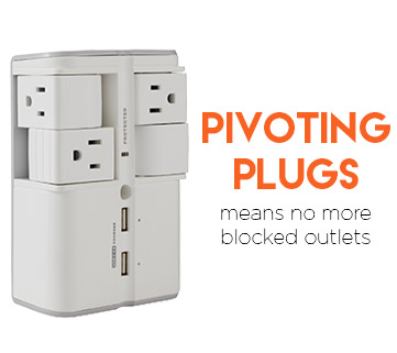 the outlets are made to pivot so you can fit all your power adapters, no matter their size
