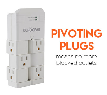 The outlets can pivot up to 90º so your cables can fit easier