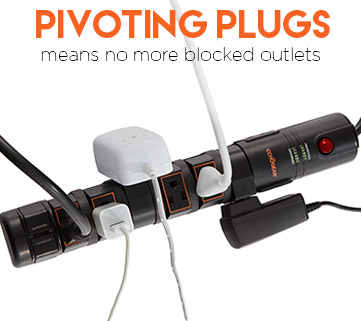 pivoting plugs help this surge protector handle more of your electronics