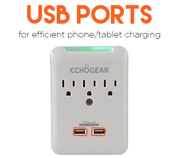 built in USB ports can charge your iPhone, Andriod, or iPad with ease