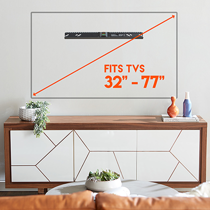 flexible designed vesa pattern makes this wall mounted TV bracket almost universal for tvs from 22inch to 77 indches including Sony, Samsung, Vizio, and Panasonic