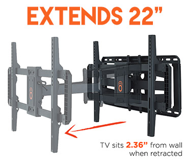 This tv mount backet has maximum extension for the most viewing options