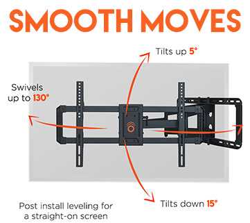 Swivel and tilt to eliminate glare and face the TV anywhere