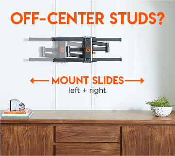The post installation leveling feature allows the mount to slide left and right for adjustment