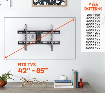 The almost universal designed vesa pattern makes this wall mounted TV mount compatible with any tvs including TCL, Insignia, Sony, Samsung, Vizio, and Panasonic