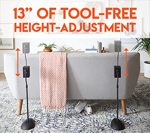 This floorstand has 13 inch of tool free adjustment