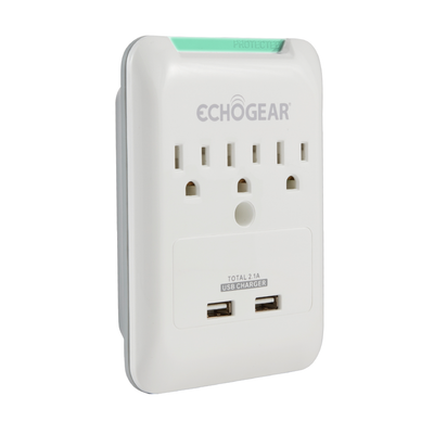 Slim surge protector plug for your wall protects your gear and is fireproof