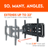 "This tv wall mount bracket can extend 22"" and retracts back to a low profile"