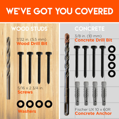 Works for wood and concrete TV mount installs