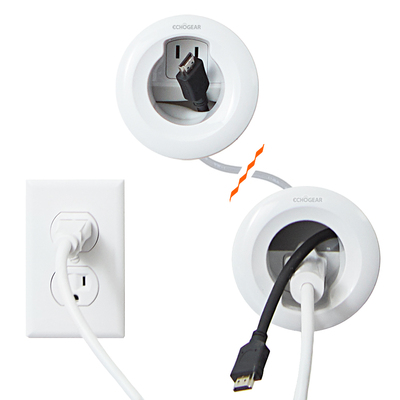 In wall power cable management kit