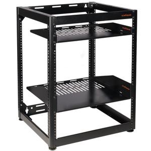 15U Open Frame Rack with 2 Vented Shelves -EGAV-PROF15
