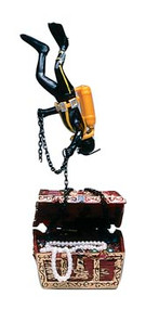 Action Air Treasure Chest & Diver Live-Action Aerating Aquarium Ornament