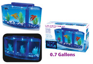 Penn Plax Deluxe Triple Betta Bow Aquarium Tank 0.7 Gallon