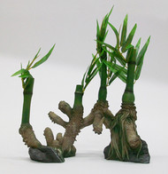 Penn Plax Bamboo Roots with Silk Leaves Aquarium Ornament