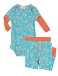 Sock Monkey Two-Fer Romper and Pant Set